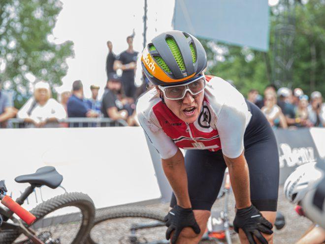 Nathalie Schneitter an der E-Bike Weltmeisterschaft Mont-Sainte-Anne Kanada, E-Mountainbike