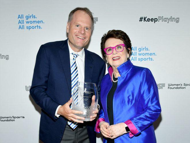 Trek President John Burke with Billie Jean King at the 2019 Salute to Women Sports Gala