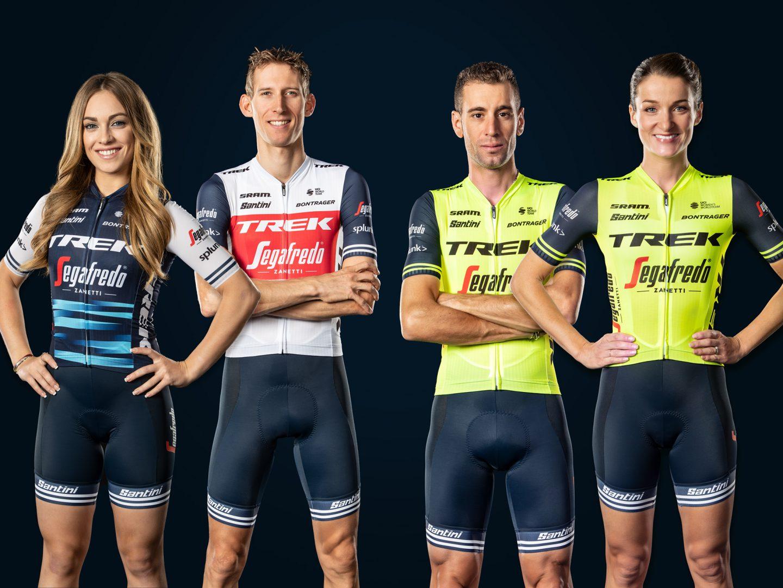 Trek-Segafredo riders wearing all-new team apparel for racing and training