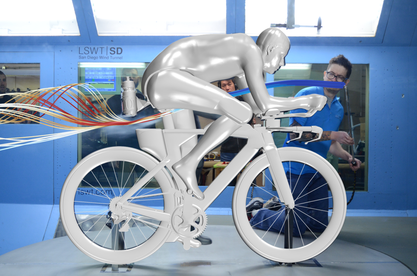 Speed Concept in wind tunnel with CFD overlay