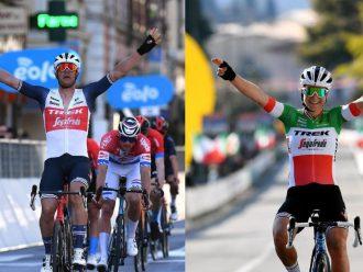 Dos ciclistas festejando al cruzar la meta