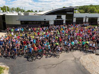 Trek employees celebrate outside of Trek headquarters in Waterloo, Wisconsin.