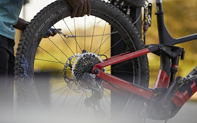 Closeup of rear cassette on mountain bike