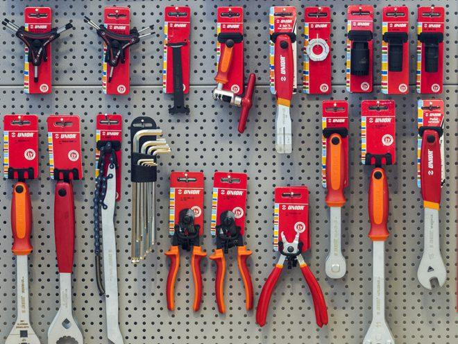 bike tools hanging on wall