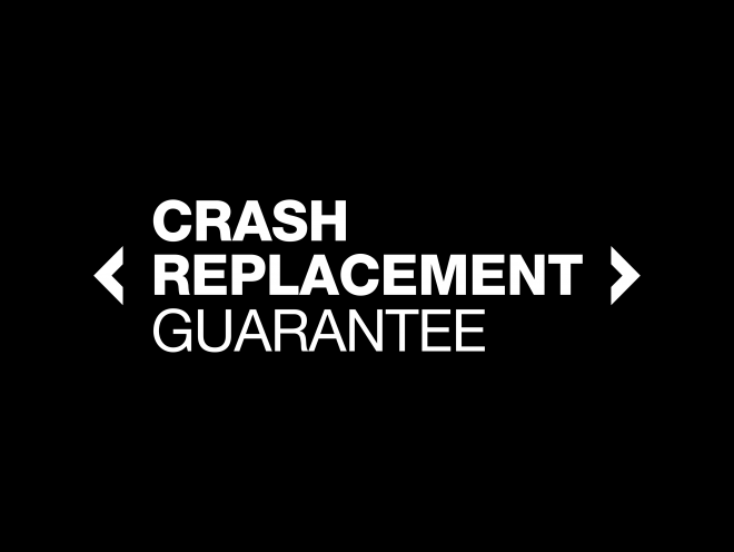 crash replacement guarantee with black background