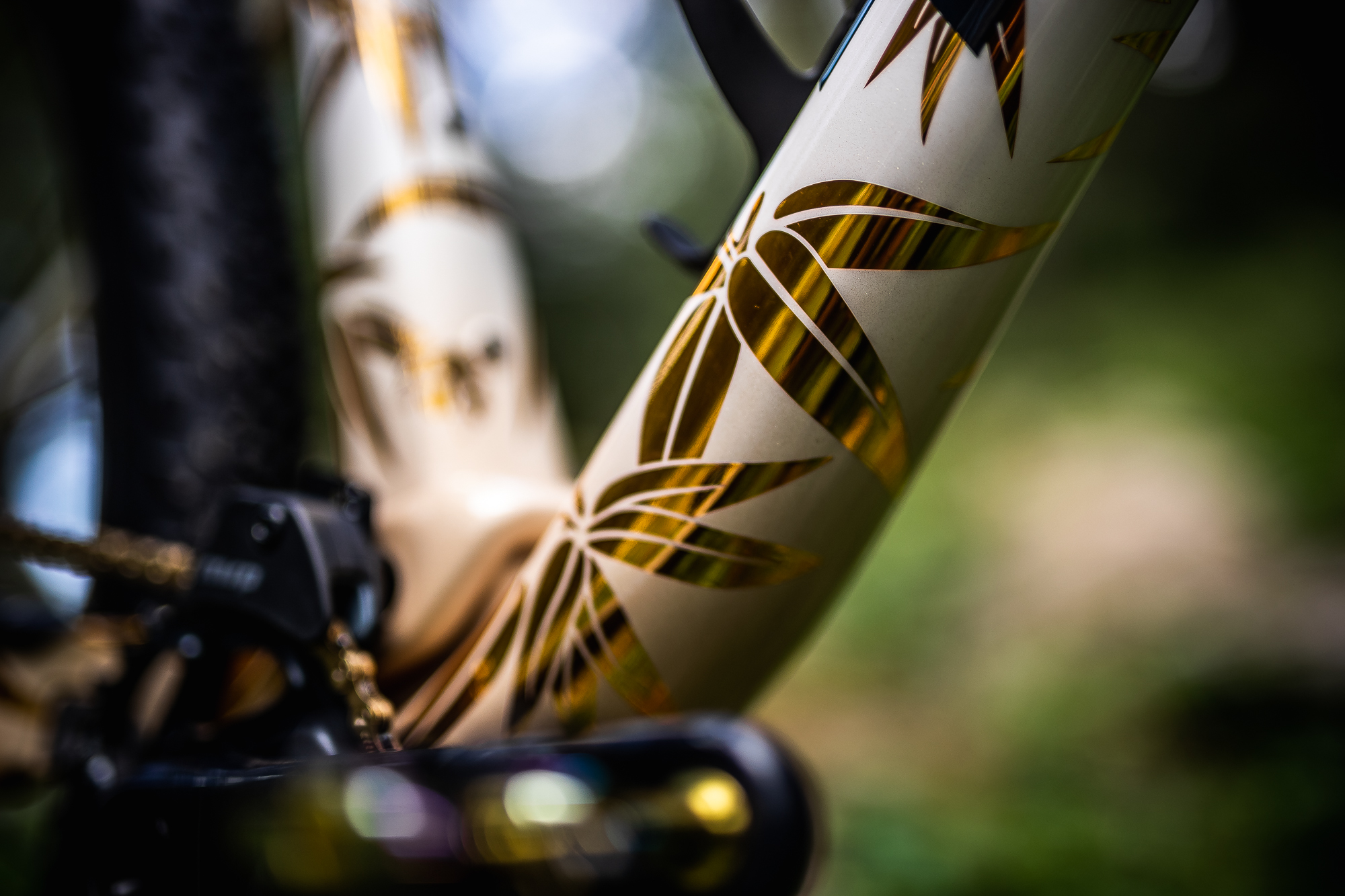 Detailed image near bottom bracket on bike showing golden chroma bamboo leafs and misty clouds behind it